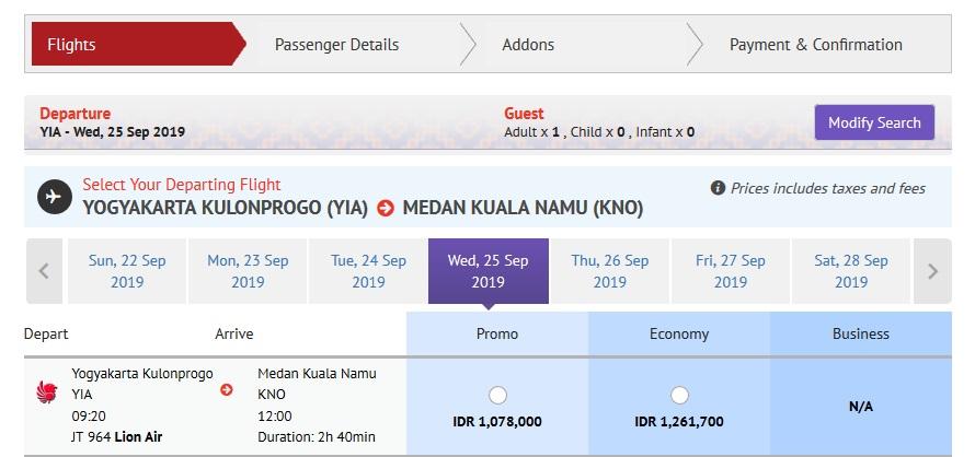 Harga tiket Lion Air Kulon Progo ke Kualanamu. Sumber Lionair.co.id