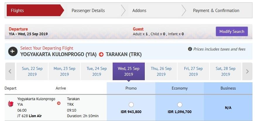 Harga tiket Lion Air Jogja ke Tarakan Per 25 September 2019 - Sumber Lionair.co.id