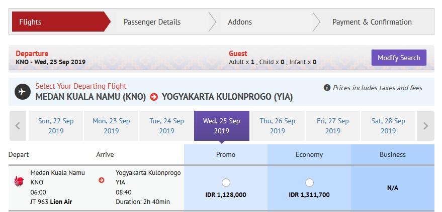 Harga tiket Lion Air Kualanamu ke Kulon Progo. Sumber Lionair.co.id