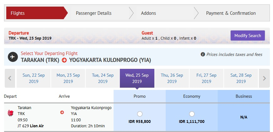 Harga tiket Lion Air Tarakan ke Jogja Per 25 September 2019 - Sumber Lionair.co.id