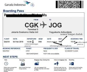boarding pass pesawat dan keterangannya