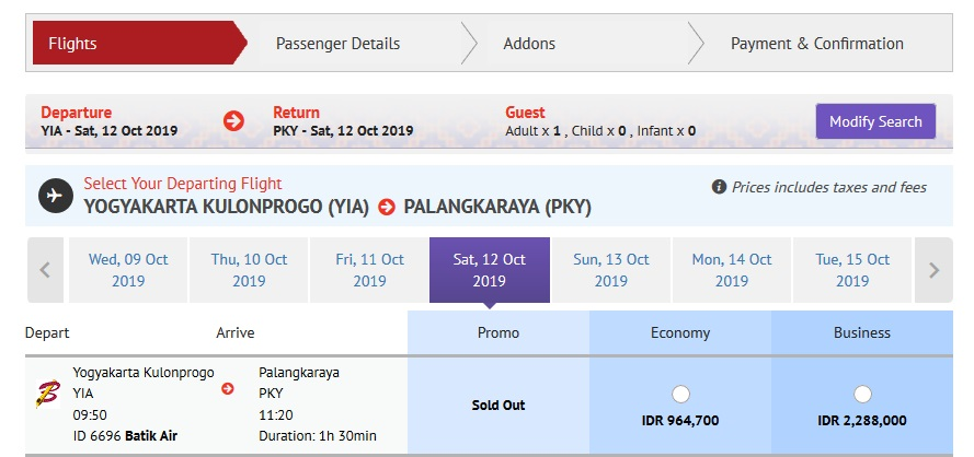 Batik Air YIA ke Palangkaraya Direct Flight