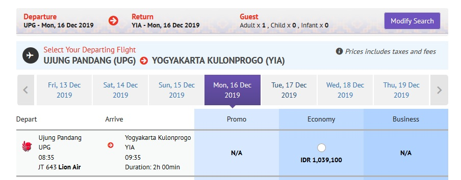 Lion Air Direct Flight Ujung Pandang ke Yogyakarta Internasional Airport