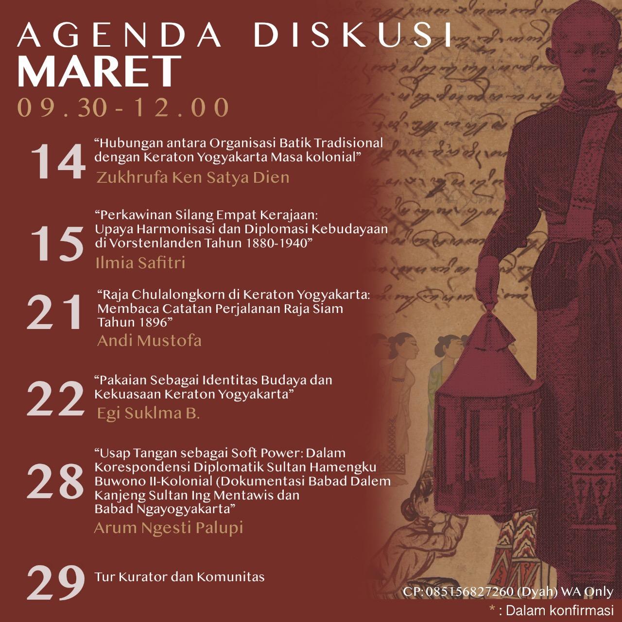 Agenda Diskusi Maret Kraton Jogja